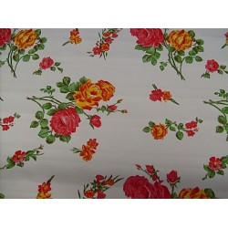 Mexican oilcloth rosedal white - off the roll